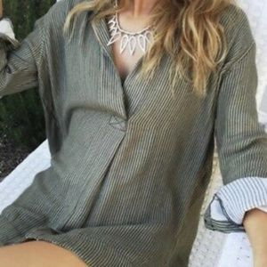 Free People Hunter Green Pullover Sweater Blouse